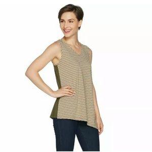 Susan Graver striped reversible top green Med 15E